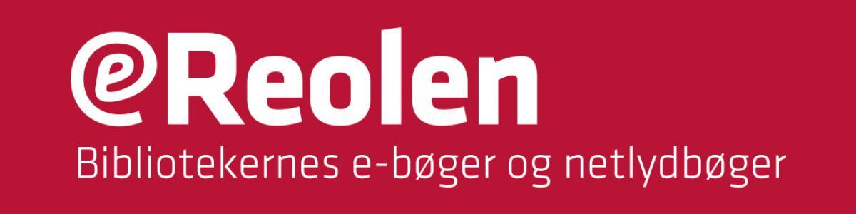 eReolens logo - hvid tekst på rød baggrund