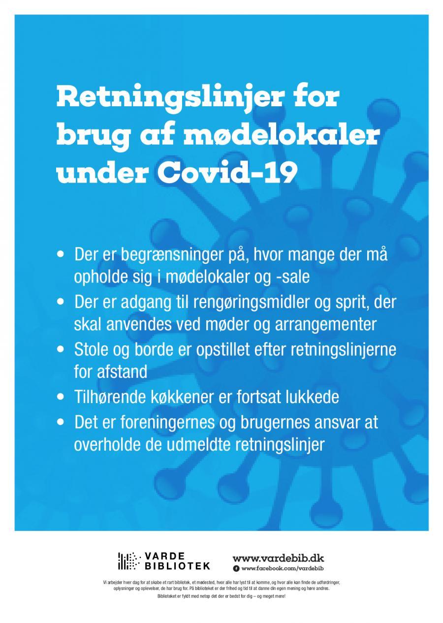 Plakat med retningslinjer for lån af mødelokaler og sale
