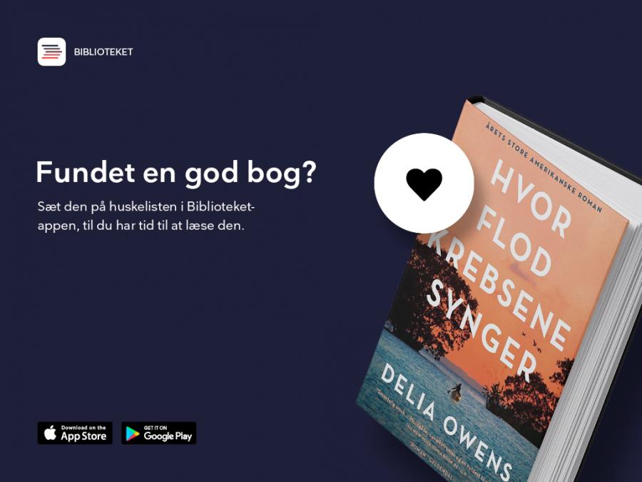 """Bog med et hjerte på. Teksten """"Fundet en gd bog? sæt den på huskelisten"""""""