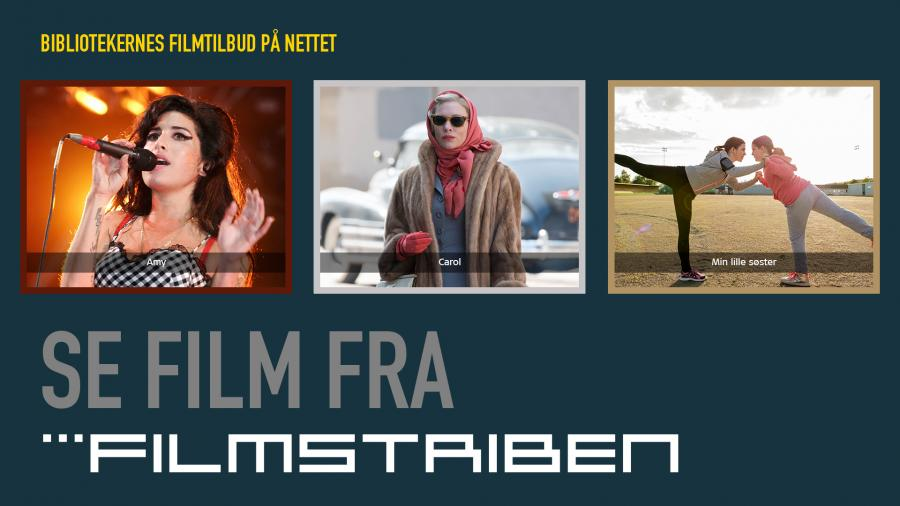 Filmstriben logo med billeder fra filmene Amy, Carol og Min lille søster
