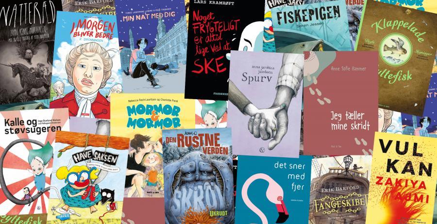 Billeder med frise af alle 15 bøger der er nomineret til Kulturministeriets Forfatterpris og Illustratorpris for børne- og ungdomsbøger.