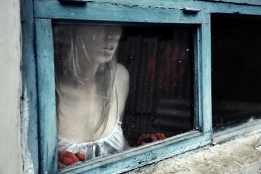 Billede af kvinde der står i et vindue med blodige hænder.