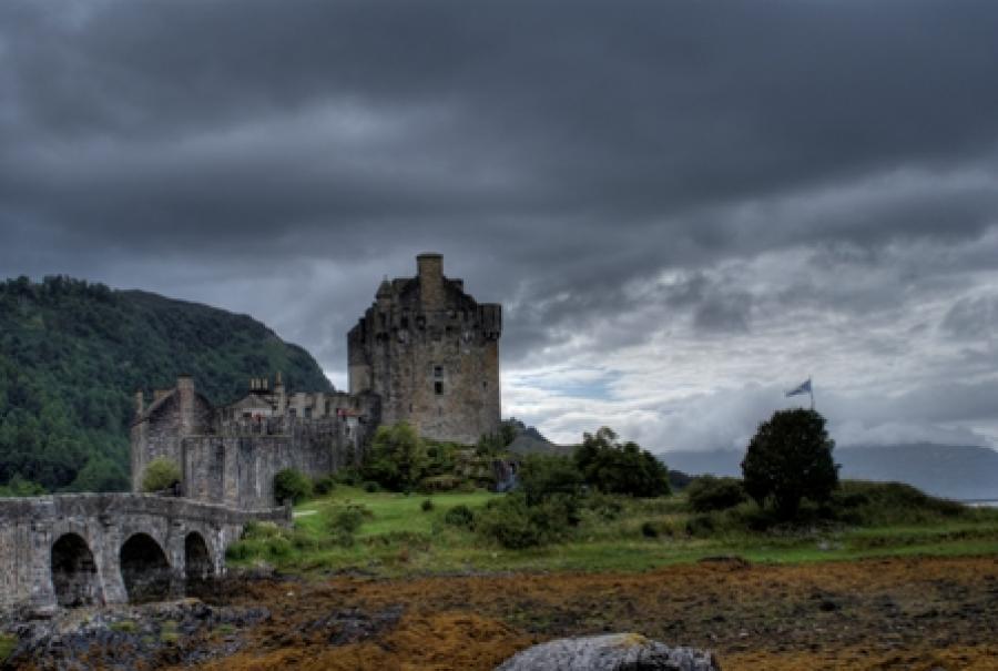 Billede af en ruin i Skotland.