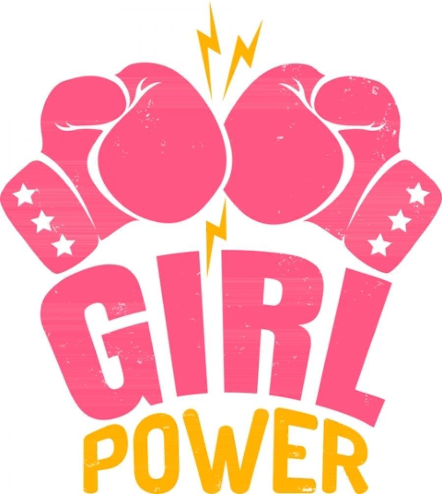 Et billede af et par lyserøde bokserhandsker og teksten Girl Power.