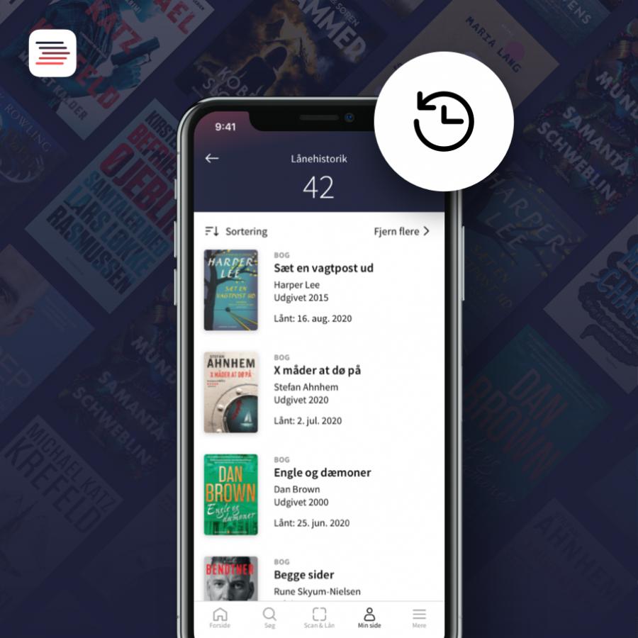 Smartphone med appen Biblioteket og lånerhistorik åben