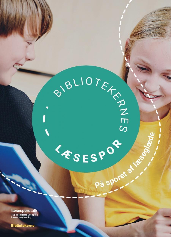 To børn der læser med et logo med læsesporet i midten