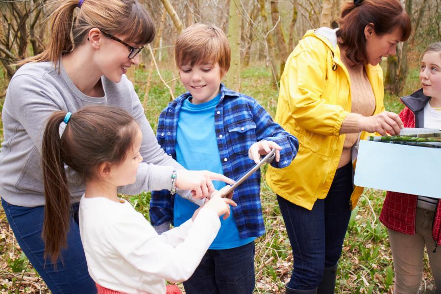 Børn og voksne i naturen kigger på en tablet og undersøger naturen