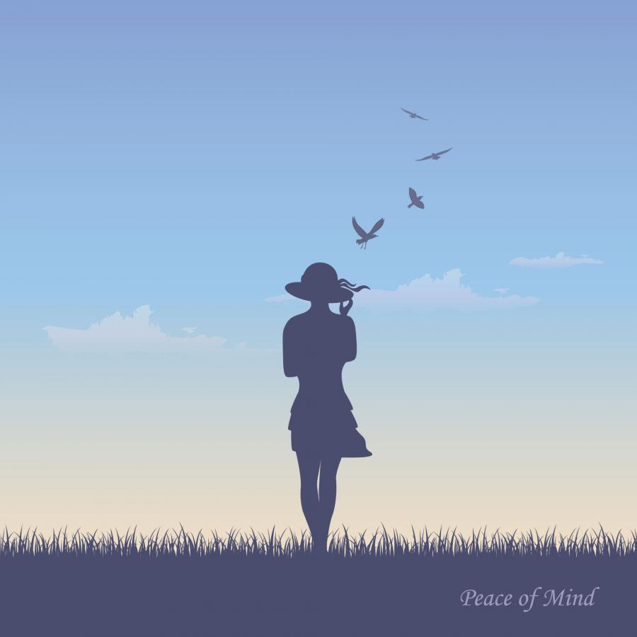 Billedet forestiller silhuetten af en kvinde set fra ryggen. Hun er klædt i en sommerkjole og hat. Himlen er lyseblå.