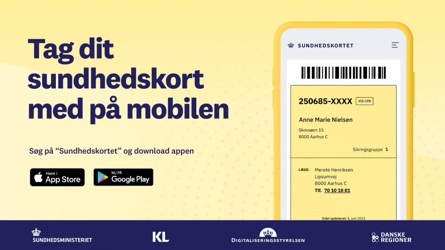 Tag dit sundhedskort med på mobilen med billede af sundhedskortet på mobilen