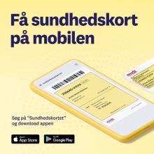 Få sundhedskortet til mobilen med billede af mobil med sundhedskortet på
